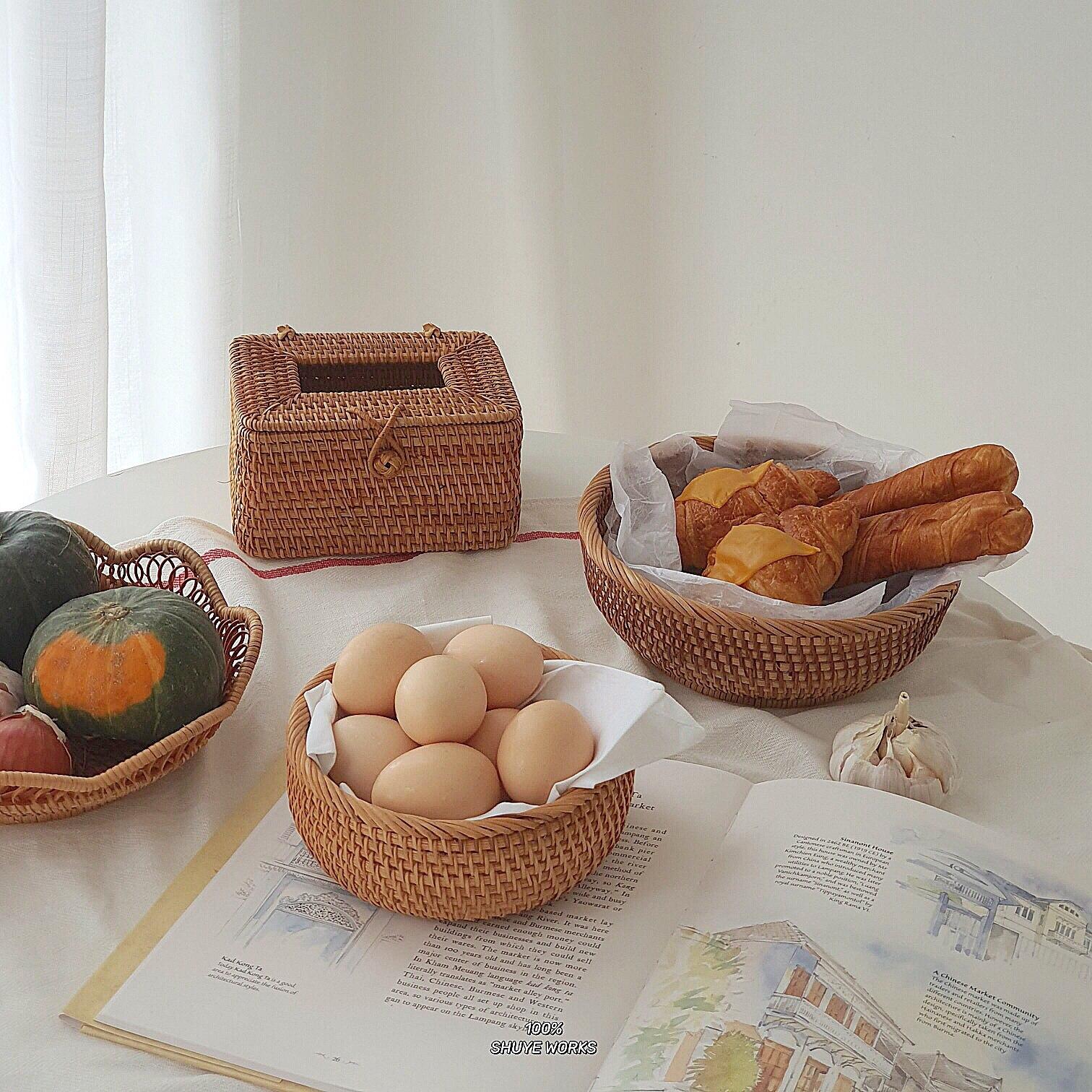 Hand-Woven Wruit Basket Kitchen Vegetable egg Storage Basket Household Wicker Bread Basket Square Tissue Box