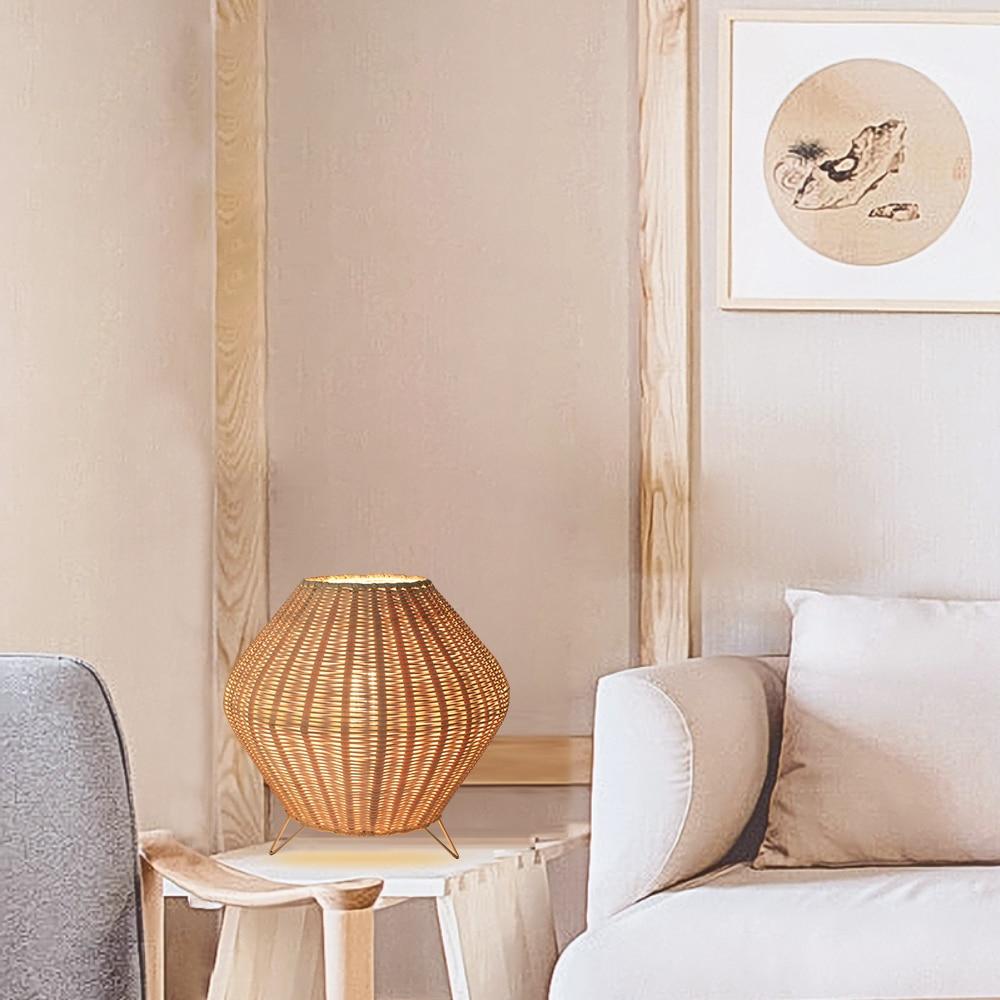 Arturest Retro Rattan Weaving Table Lamp, Eye-Caring Handmade Bedside Lamp, Creative Bedroom Study Stand Desk Lamp Reading Light