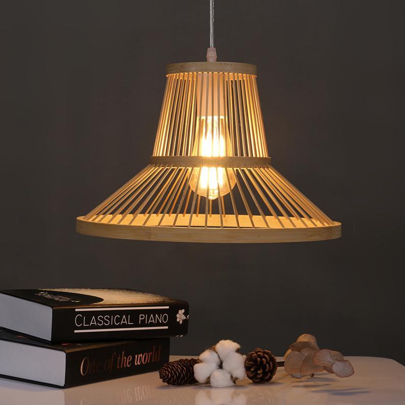 Japanese style bamboo light wood retro chandelier wicker pendant lamppshade living room hotel restaurant aisle suspension lamps