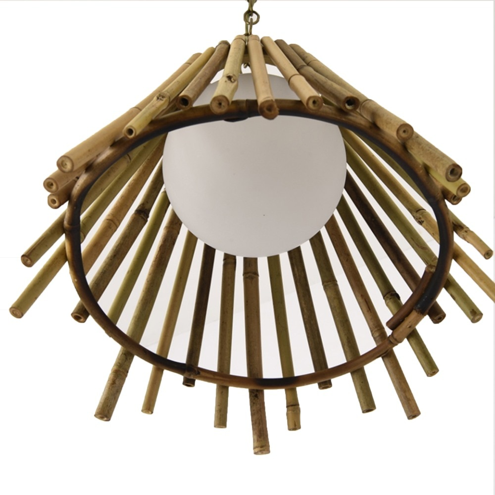 Bamboo E27 Hanging Lights For restaurant coffee shop corridor bar bedroom Glass ball bamboo Pendant Lamp Decorative Lighting