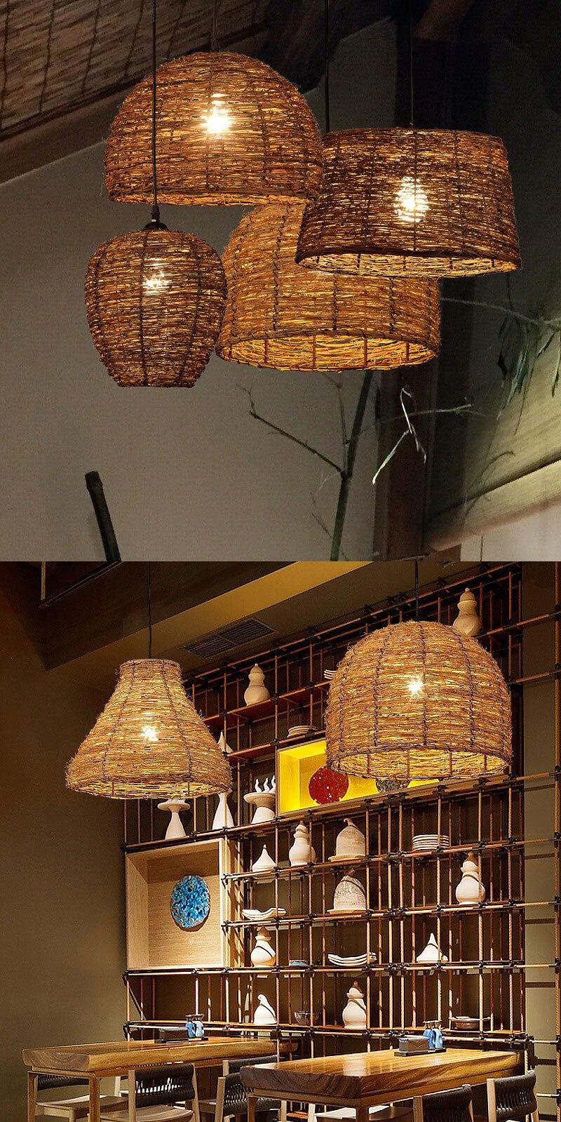 New Rattan Lamp Pendant Light Vintage Hanging Lamp LED For Living Room Dining Room Home Decor Cafe Restaurant Hanglamp