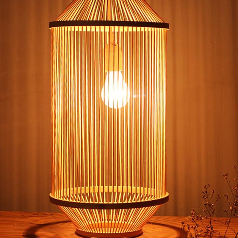 Modern bamboo weaving wooden Pendant lamps For restaurant bar kitchen bamboo hanging Japanese style art creative deco wood light