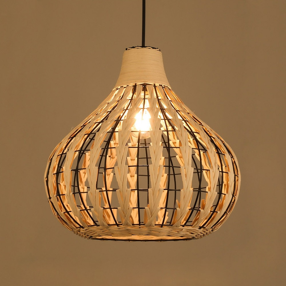 Japanese retro Rattan art Chanderliers lamps dinning room Modern Bamboo Pendant lights living room hanging lighting lantern