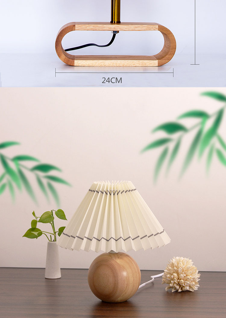 Table lamp Wood For Girls bedroom homestay Korean style Solid wood decoration Retro pleated girl heart ins Bedside Night Light
