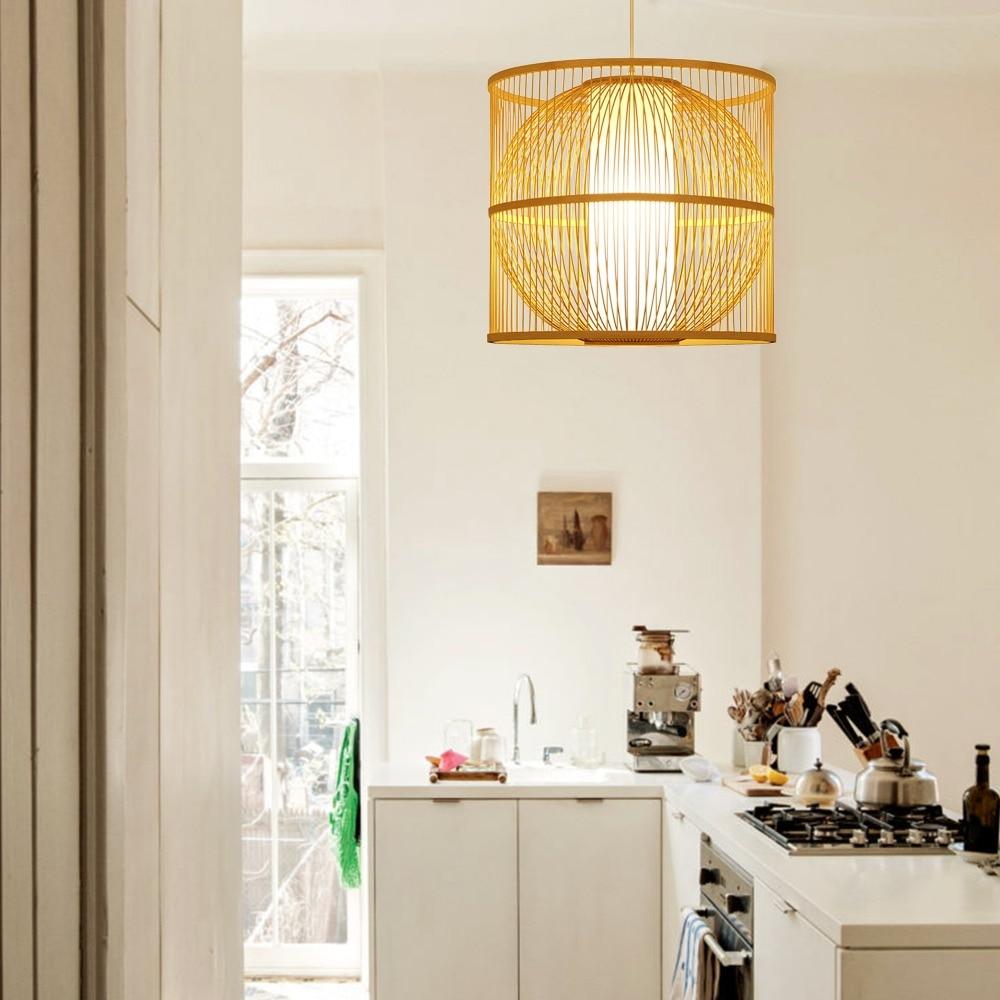 Arturesthome Chandeliers deco bamboo Pendant lamps bedroom bedside lamp dining room deco wicker rattan hanging light fixture