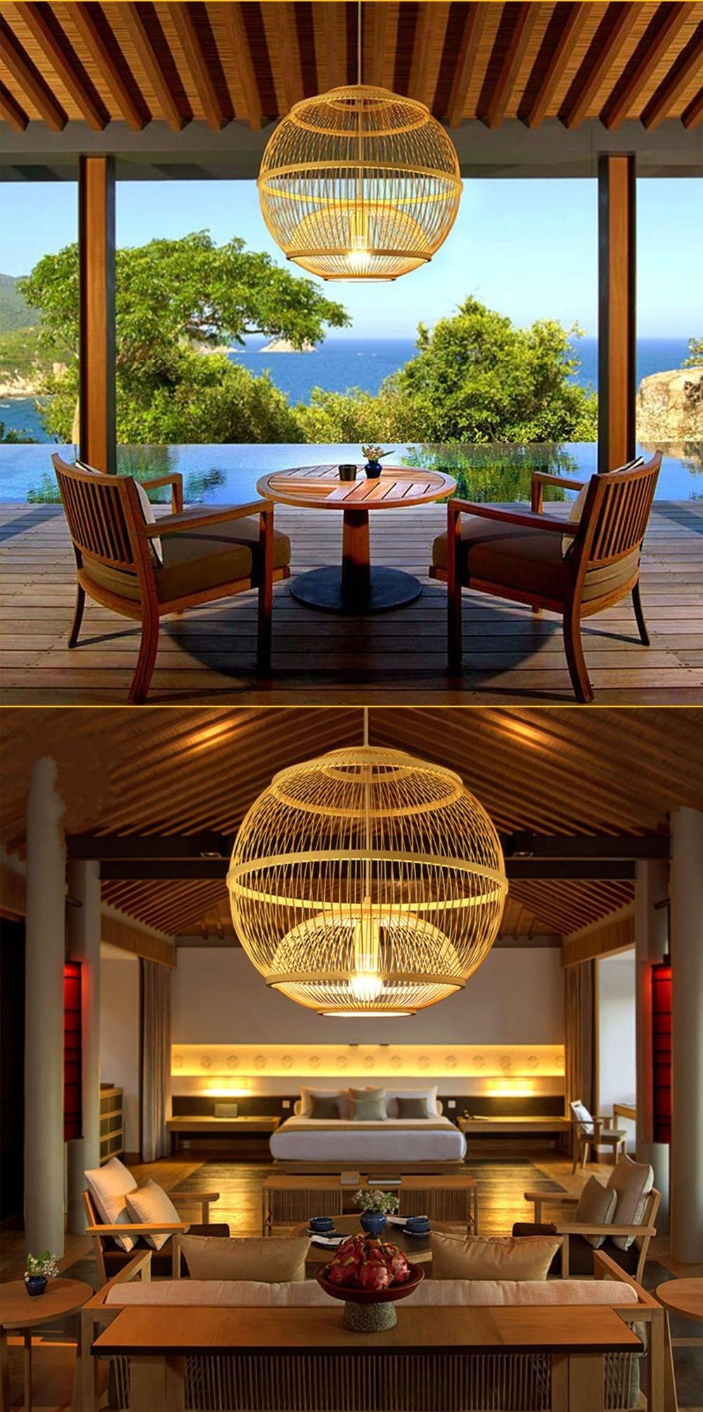 Arturesthome Modern Pendant lights Bamboo lamps For living room Restaurant Rattan light kitchen light lamp fixtures hanging