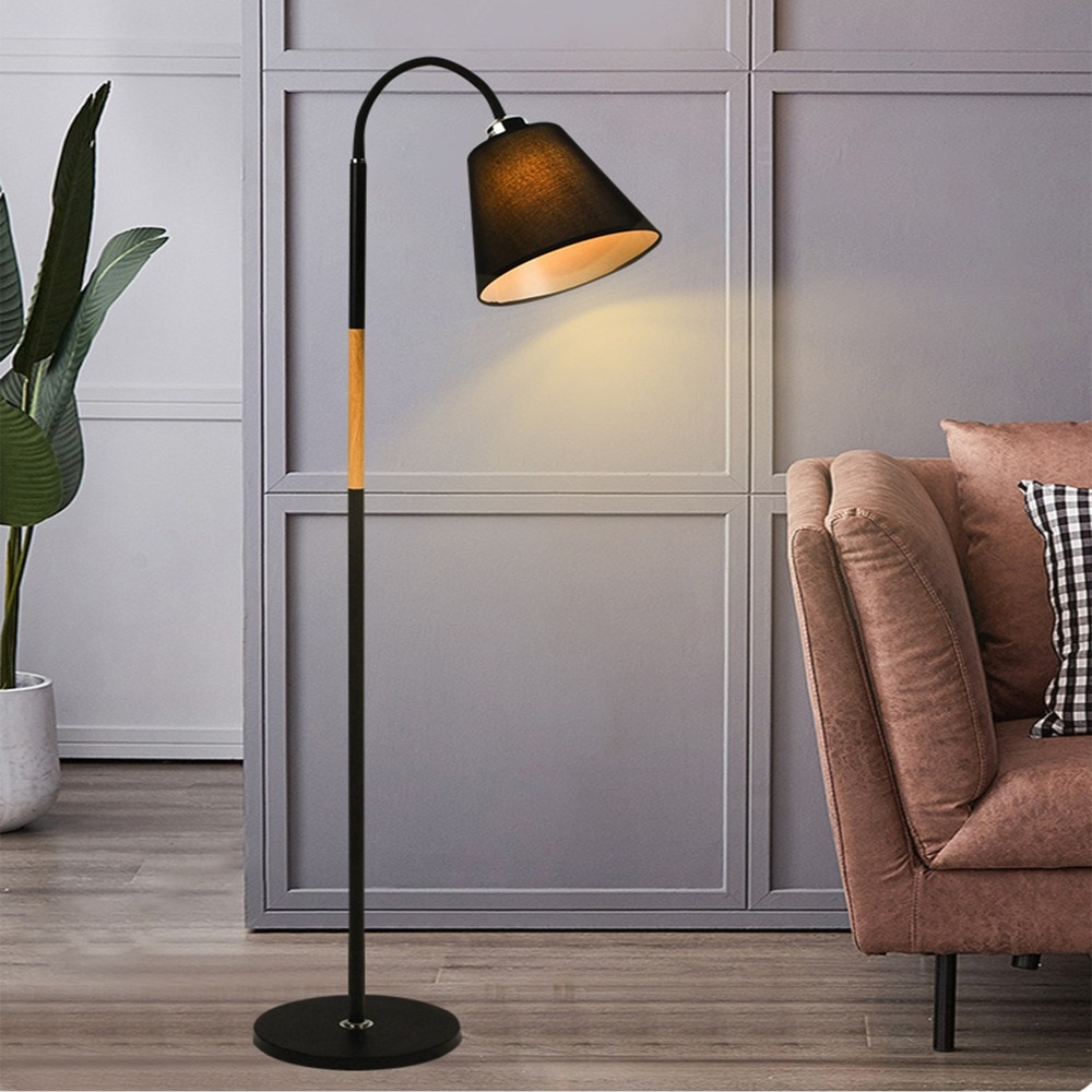 Nordic simple floor lamp warm light fabric lighting fixtures bedroom vertical table light led smart remote control Stand lamps