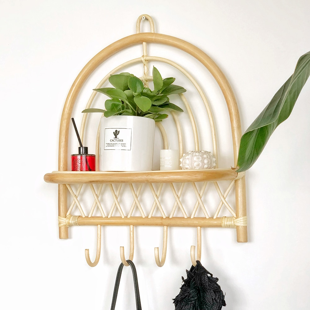 Rattan wall shelf Handmade semicircular rattan wall decoration rack with hook home hanging rack