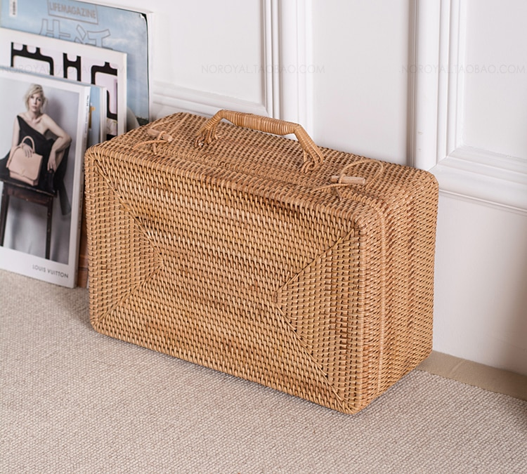 Creative handmade rattan portable storage box