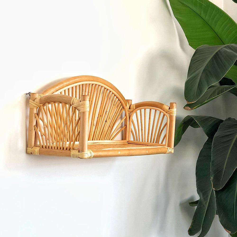 Rattan storage shelf for wall hanging rack for book Home decor rattan wall shelf