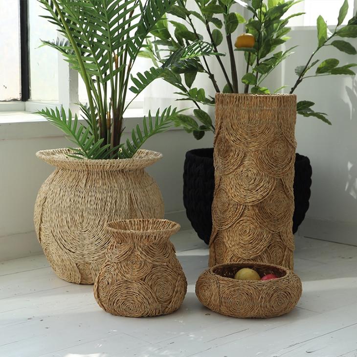 Woven basket Natural style aquatic weave grocery storage basket plant decorative basket