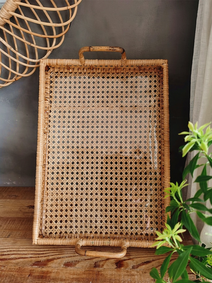 Serving Trays decorative Handmade polygonal rattan tray with handle Free shipping