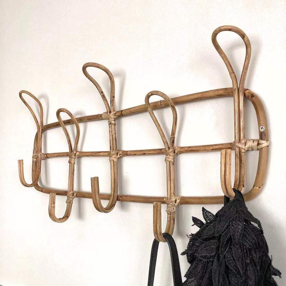 Rattan Wall Hooks Clothes Hat Hanging Hook Rattan Hanger Home Decor Hanger