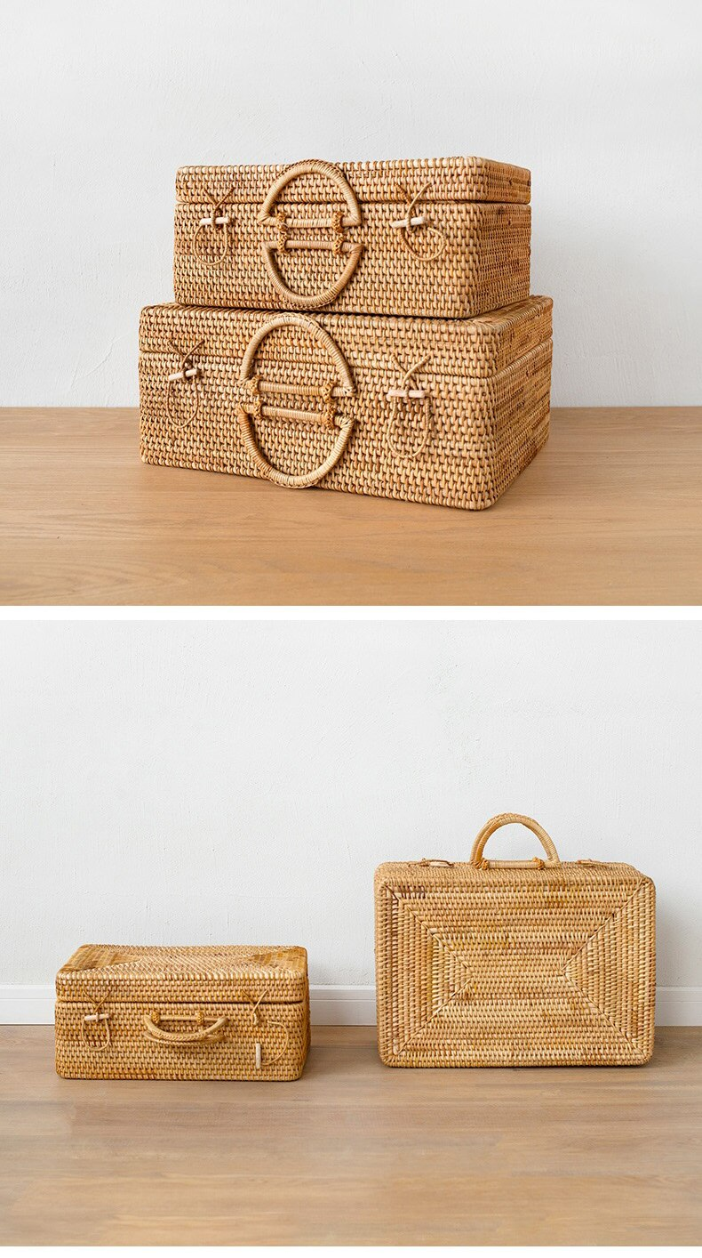 Rattan Large suitcase Retro art hand-made rattan travel portable storage box clothes organizer Size L