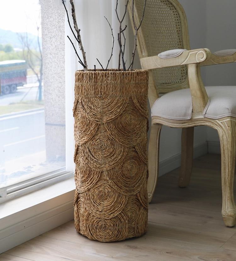 Natural style swirl pattern water grass woven grocery storage basket