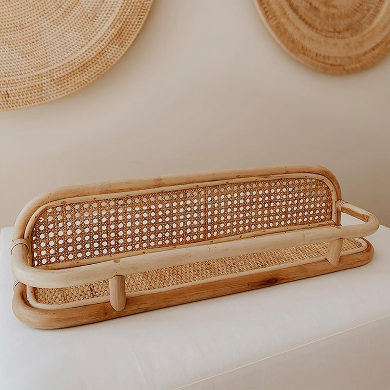 Rattan hanging rack on the wall storage shelf for kitchen