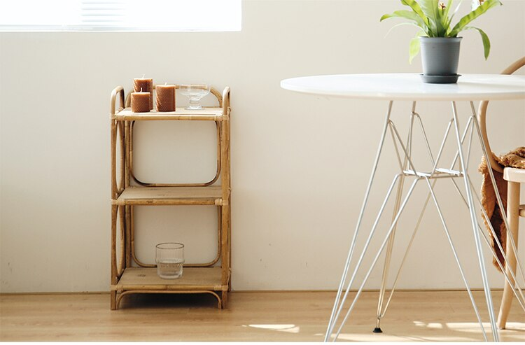 Book shelf for living room Modern rattan three-layer shelf