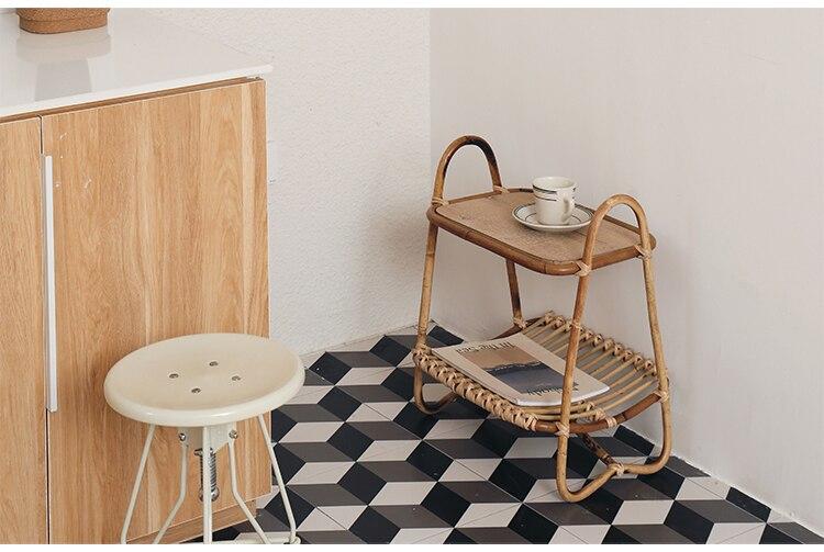 storage rack Modern style handmade rattan double-layer bookshelf for living room