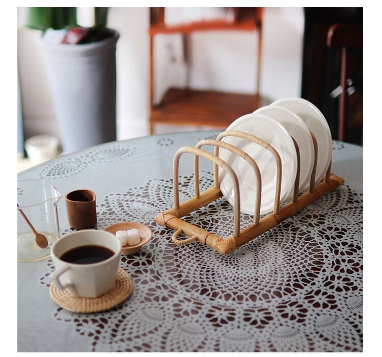 Kichen organizer handmade rattan dish drying rack
