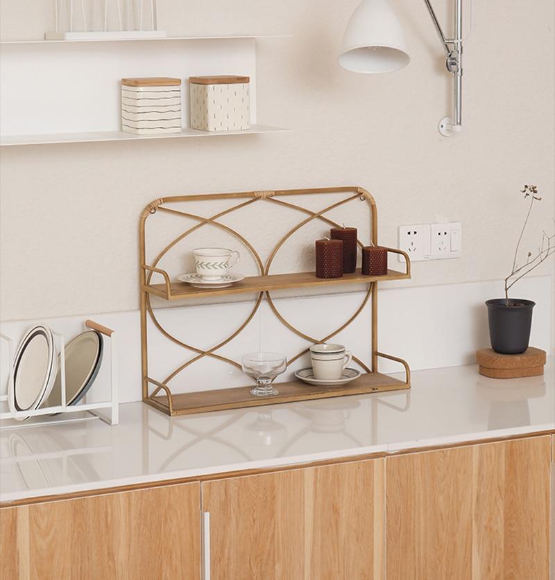 Kitchen storage Handmade rattan storage rack shelves for wall home storage Holders