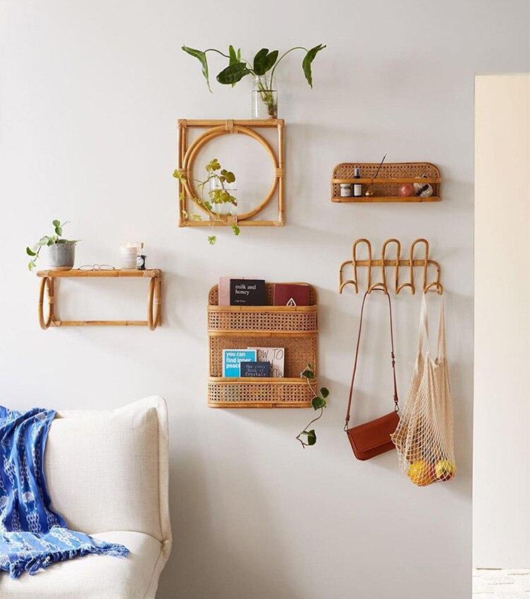 Rattan wall shelf Handmade creative rattan kitchen storage rack shelves for wall