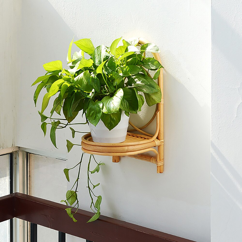 Rattan wall hanging rack Hand-woven rattan shelf organizer decorative wall shelf