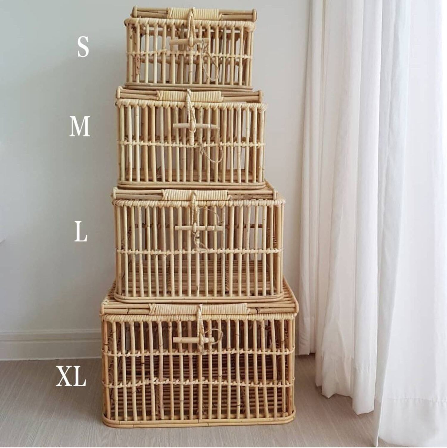 Shelf baskets Hand-woven rectangular rattan storage basket with lid, debris storage box