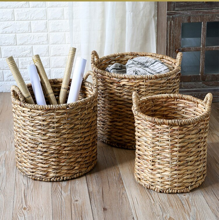 Dirty clothes basket water hyacinth woven round storage basket with handle clothes hamper
