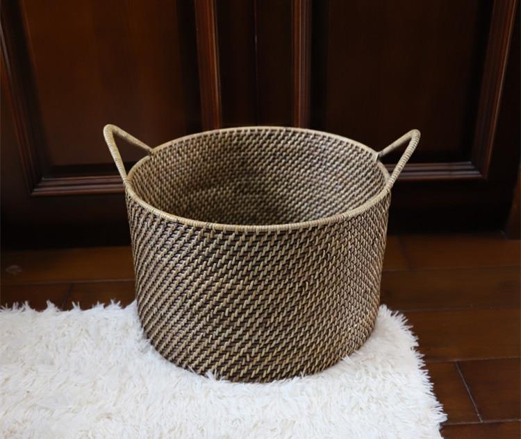 Rattan basket American vintage handmade rattan sundries storage basket