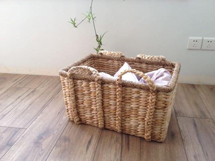 American woven double handle storage basket