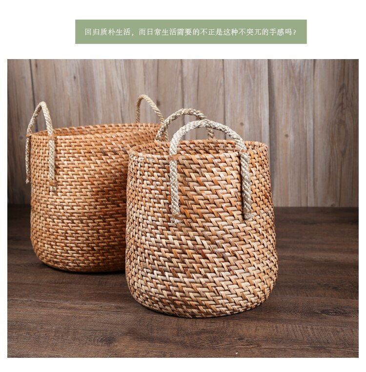 American style round rattan woven sundries storage basket wicker basket decor