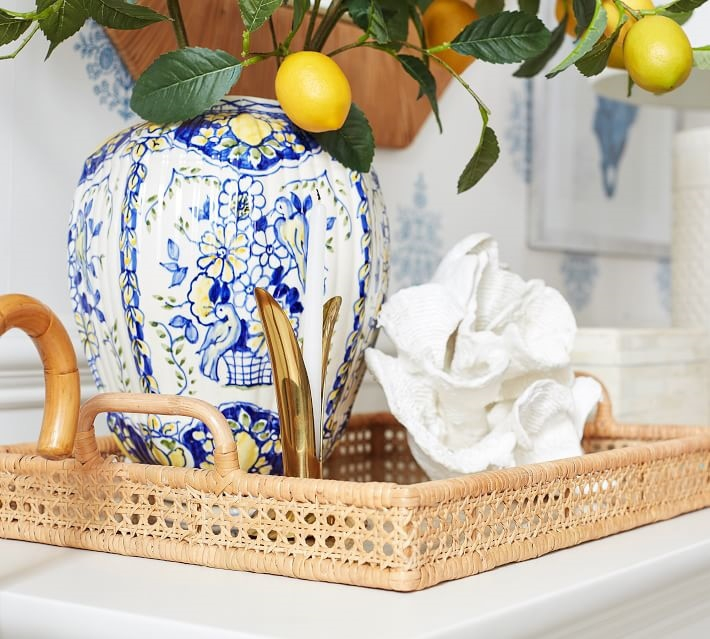 Rattan serving Trays Handmade polygonal tray with handle for kitchen modern home decor