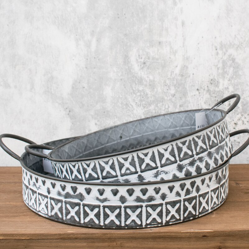 Kitchen organizer trays American country style iron retro round food tray with handle