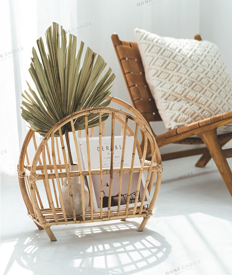 Office storage basket Handmade rattan desktop book storage rack