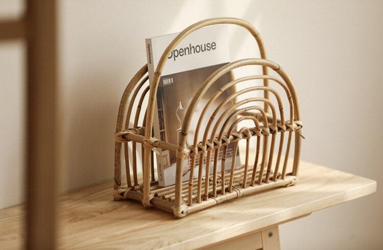 MIDOSHARK Handmade rattan magazine rack