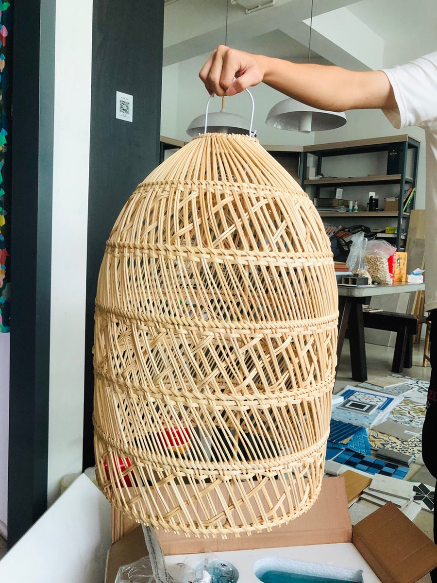 Rattan lampshade Hand-woven rattan chandelier lampshade ceiling light cover for home decor