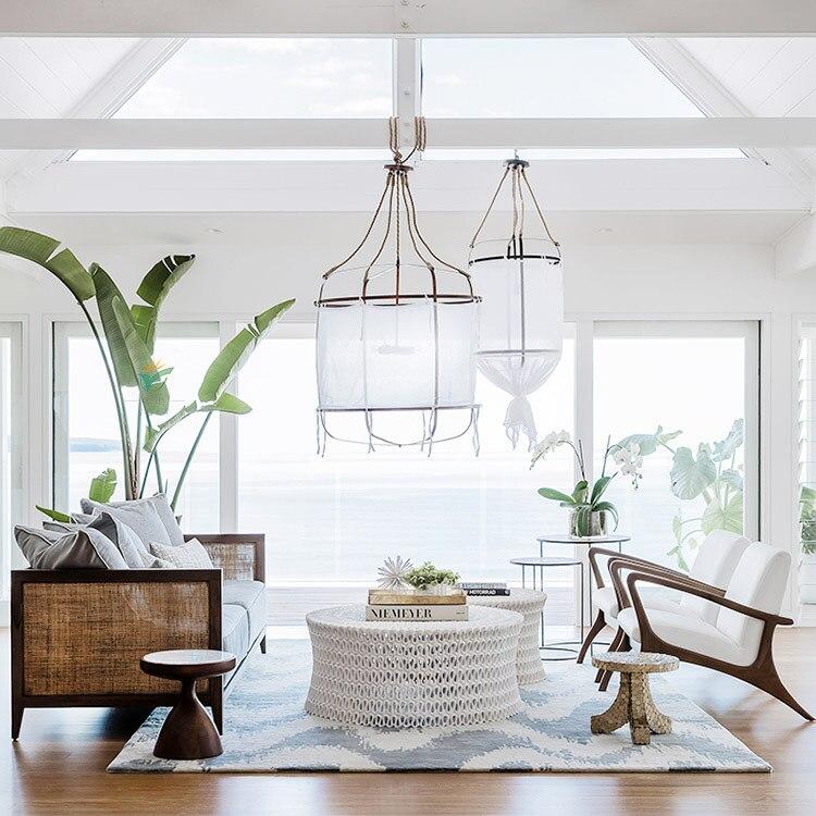 Nordic modern linen pendant lamp shade living room lamp cover