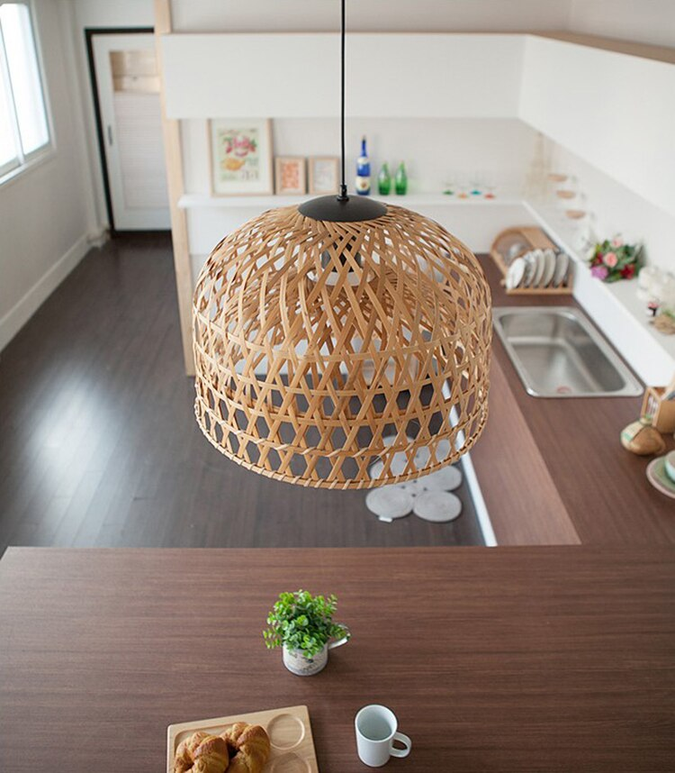 Bamboo Light cover Southeast Asian style handmade bamboo woven chandelier lampshade