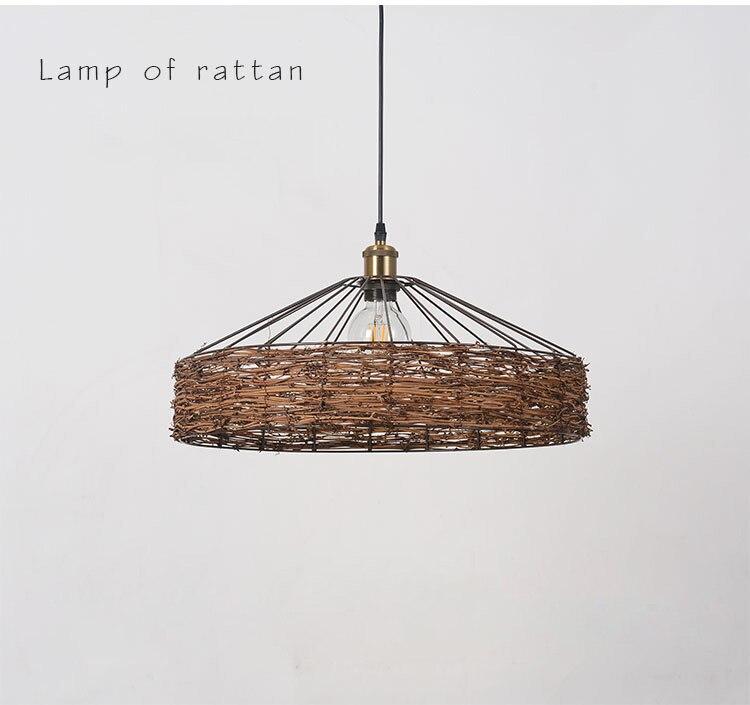 Lamp cover vintage rattan yurt fish line chandelier lamp shade