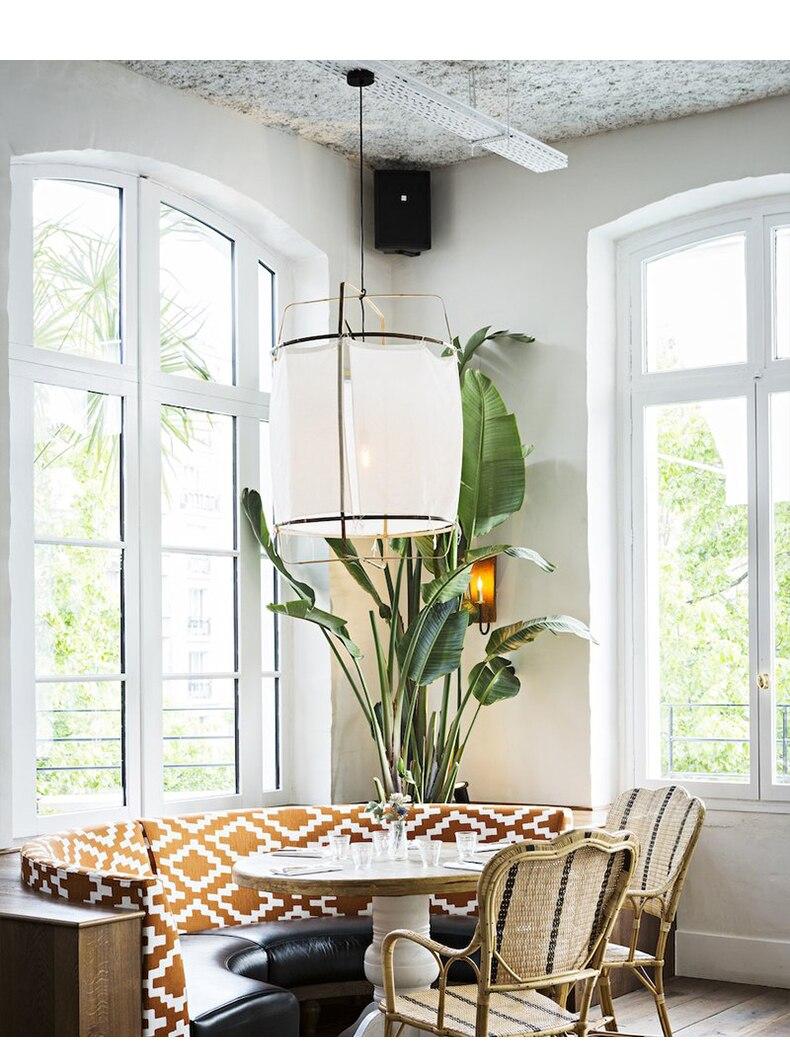 Nordic fabric linen pendant lamp shade white ceiling light cover