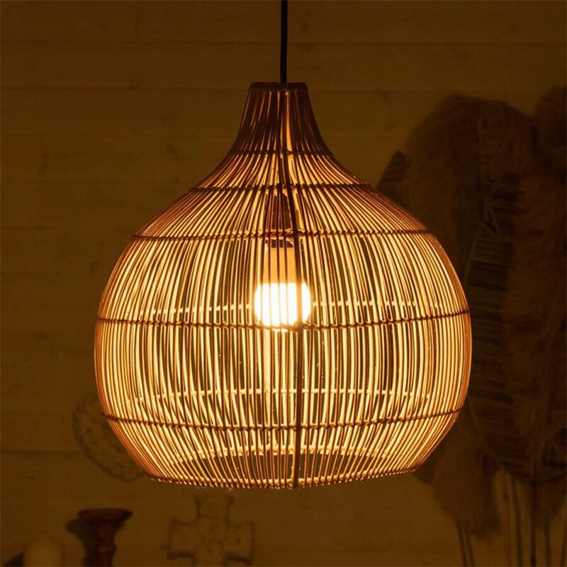 Southeast Asian style hand-woven round large rattan lampshade lampshades for Living room