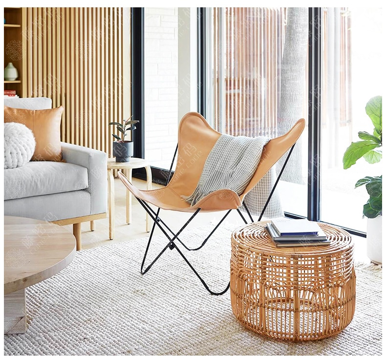 Console RattanTables American country style hand-woven rattan coffee table home side table