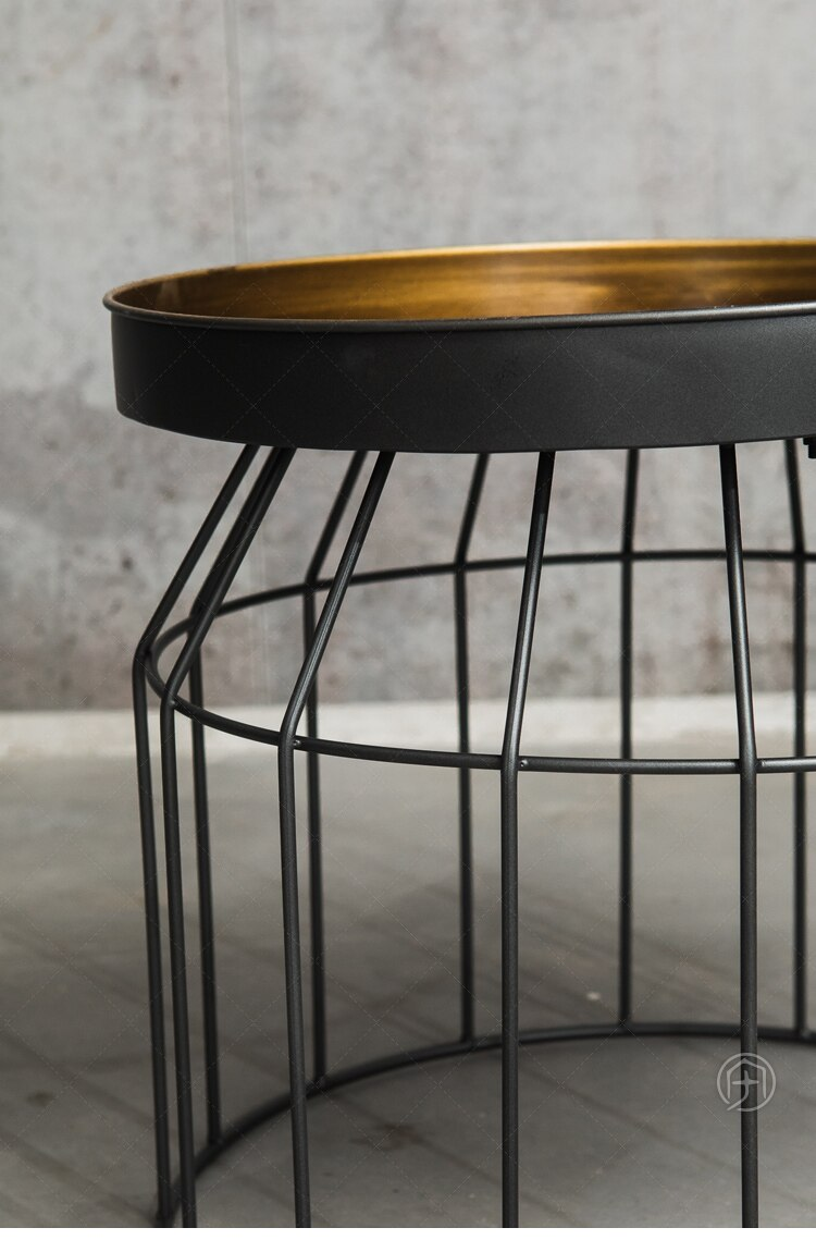 Tea table retro industrial style gold iron round storage table side table for living room Size L