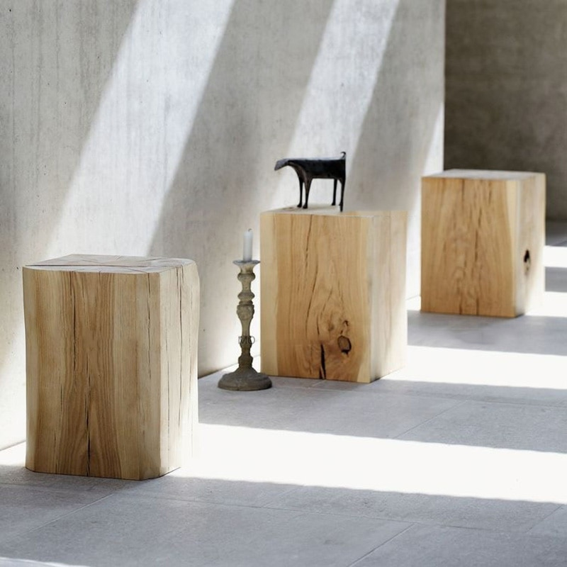 Solid Pine Wood Rectangular Bedside Table