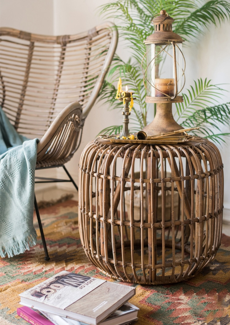Southeast Asian style natural rattan coffee table