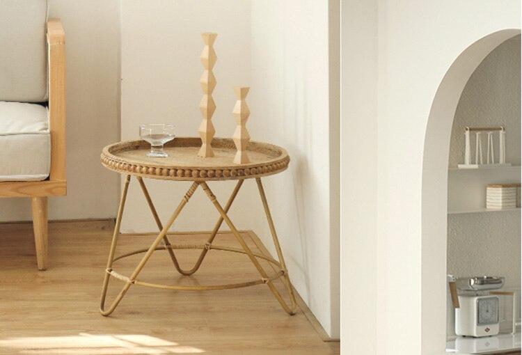 Tray table Modern minimalist rattan round three-legged coffee table storage round small side table