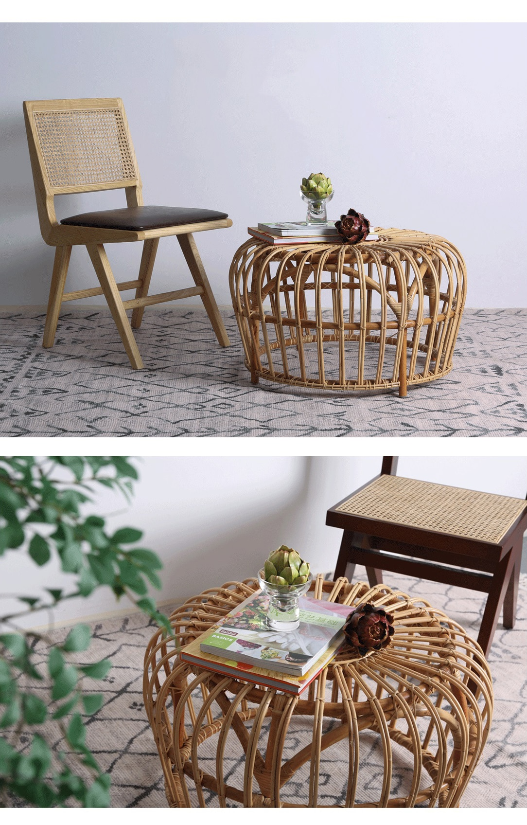 Rattan furniture hand-woven casual coffee table for living room