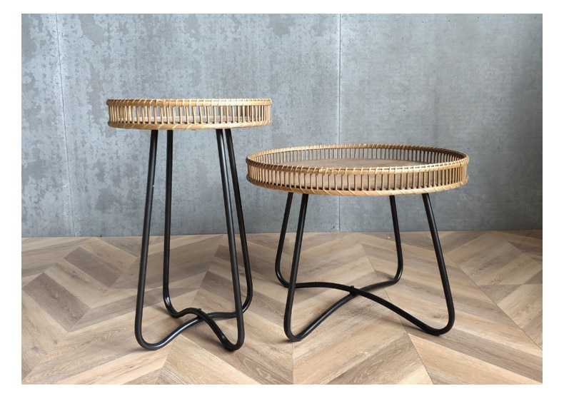 Living room tables coffee Modern minimalist style rattan oak leisure side table
