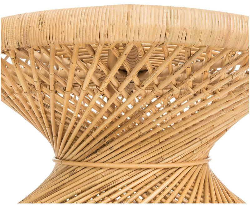 Handmade round spiral style rattan coffee table