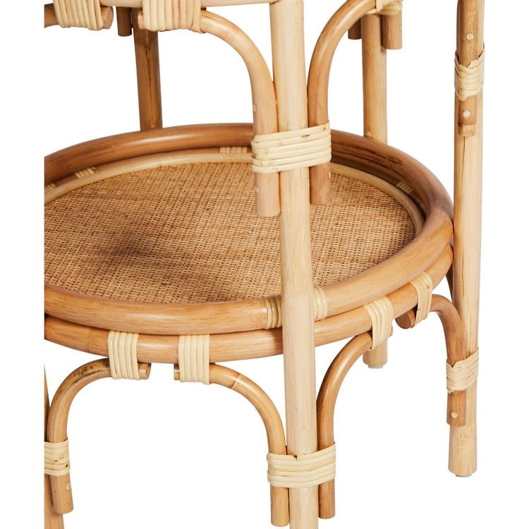Hand-made round rattan mirrored coffee table for bedroom